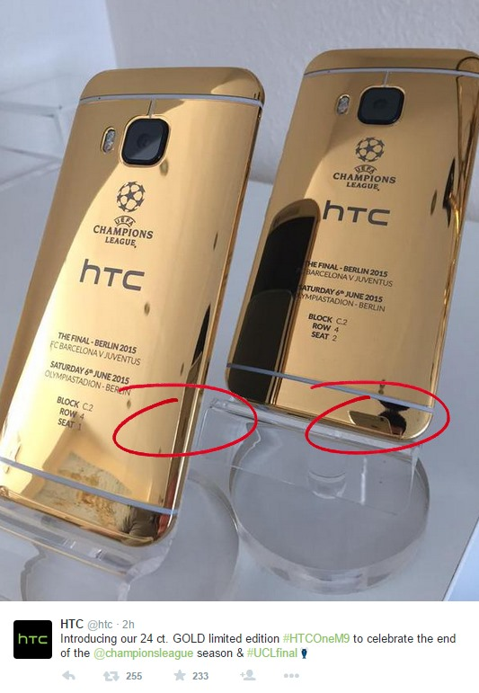 HTC One M9 24-Karat Gold Introduced Photos Shot by iPhone marked