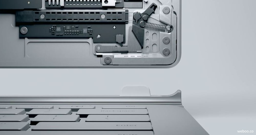 Microsoft Surface Book–muscle wire lock system